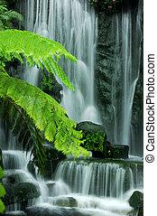 jardín, cascadas