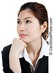 Looking away - Asian Businesswomen looking away, isolated on...