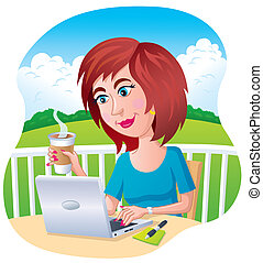 Woman On A Laptop Computer - Cartoon illustration of a woman...
