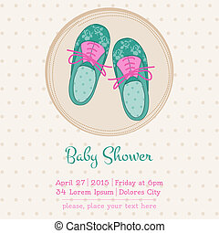 Baby Shower or Arrival Card with Place for your text - in vector