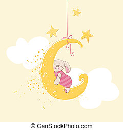 Baby Shower or Arrival Card - Sleeping Baby Bunny - in...