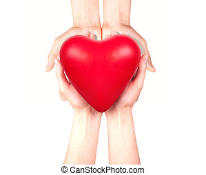 Health insurance or love concept isolated with hand and...