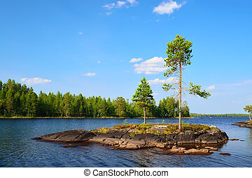 Lake Engozero. North Karelia, Russia - Rocky island with...