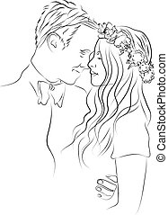 Valentines Day Wedding Couple - Illustration of Valentines...