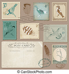 Vintage Postcard and Postage Stamps with Birds - for wedding design, invitation, scrapbook