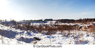 Winter panorma of Liberec road with snow