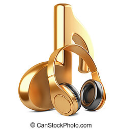Gold music note and headphones isolated on white