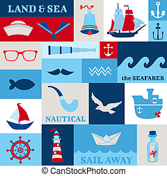 Nautical Sea Design Elements - for scrapbook and design in...