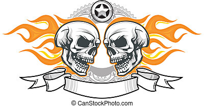 skulls with flame - double flaming skulls with ribbon and...