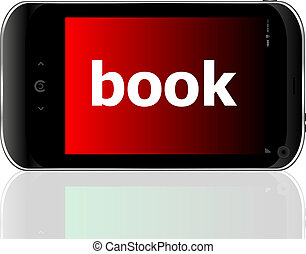 business concept: smartphone with word book on display