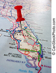 Central Florida - Closeup of a Florida map with a red push...
