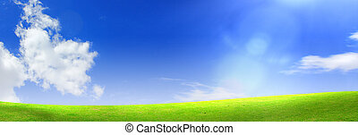 bleu, ciel, herbe, vert