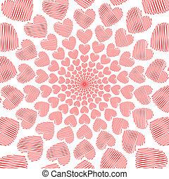 Design doodle red heart spiral movement background. Valentines Day card. Vector-art illustration