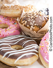 Heap of homemade Muffins and Donuts - Heap of fresh homemade...