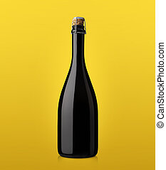 bottle of sparkling wine with cork on a colored background