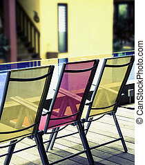 deckchairs,  - color   deckchairs,  by the pool