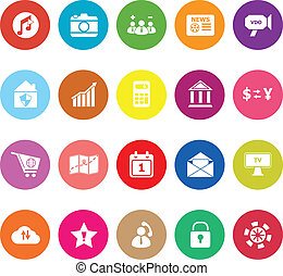 Smart phone flat icons on white background, stock vector