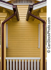 Copper Gutters - Matched copper rain gutters on the porches...