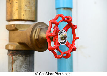 brass valves - red valves with brass pipes