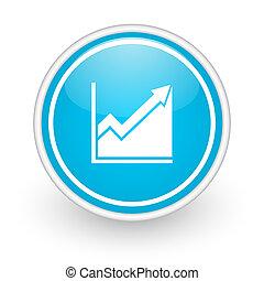 histogram icon - blue web button