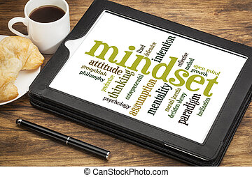 mindset word cloud - mindset word cloud on a digital tablet...