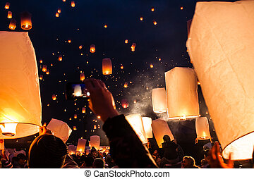 Flying lights of lanterns in Liberec in Czech Republic