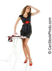 mode, modèle, fer, vêtements