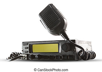 cb radio transceiver station and loud speaker holding on air...