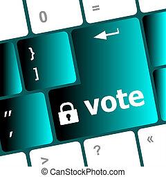 投票, 按鈕, 電腦, 鑰匙, 鍵盤