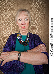 Eccentric Lady with Wild Eyes - Portrait of an Eccentric...