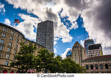 Buildings at Copley Square, in Boston, Massachusetts. -...