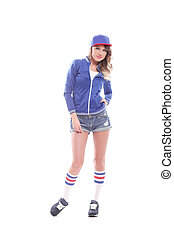 Beautiful girl in a cap and colored socks - Blue dressed...