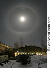 22 degree halo and moon