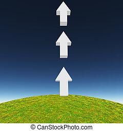 Arrows point upward