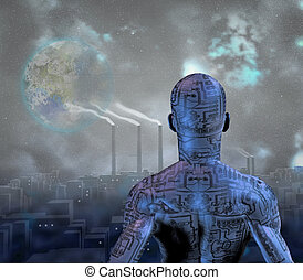 Android before smog filled city with tearraformed moon in sky