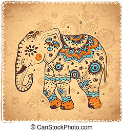 Vintage elephant illustration cand be used as a greeting...