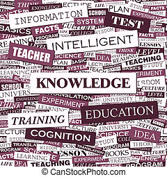 KNOWLEDGE. Concept illustration. Graphic tag collection....