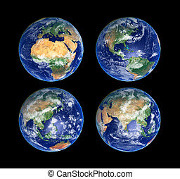 Four Globes - Four Earth Globes with clouds, high res...