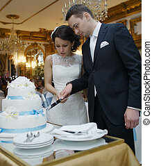 Bride and groom making a wish as they cut the cake -...