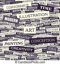 ART Seamless pattern Concept related words in tag cloud...