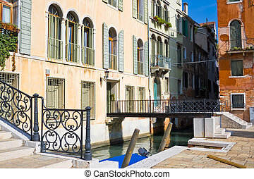 Bridges in Venice - View of a typical venetian bridge,...