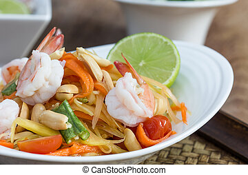 green papaya salad thai food, Thai cuisine traditional and...