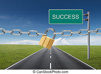 success blocked - road to success was locked by padlock and...