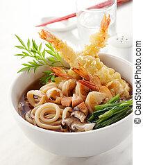 tempura udon - delicious tempura udon, shallow depth of...