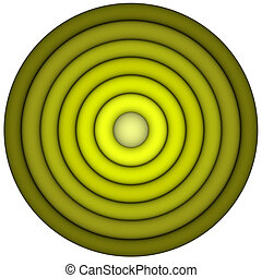 3d render concentric pipes in multiple green yellow