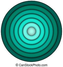 3d render concentric pipes in multiple blue green