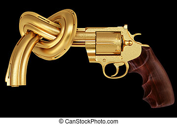 pistol - golden gun tied in a knot. Isolated on black.