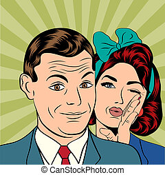 Man and woman love couple in popart comic style, vector...