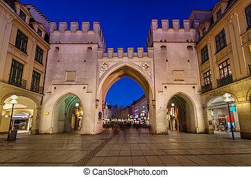 Karlstor Gate and Karlsplatz Square in the Evening, Munich,...