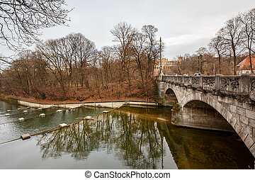 Maximilian Bridge over Isar River in Munich, Upper Bavaria,...